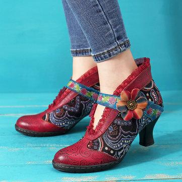 SOCOFY Vintage Lace Hook Loop Genuine Leather Ankle Boots