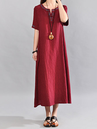 Women Short Sleeve Embroidery Loose O-neck Dresses