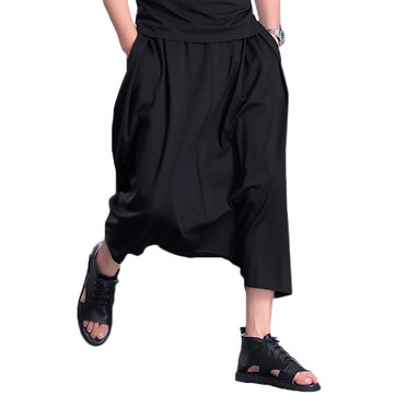 Mens Plus Size Hip Hop Style Loose Crotch Baggy Harem Pants