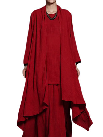 Folk Style Casual Women Pure Color Pleated High Low Cardigan