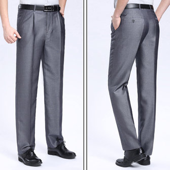 Mens Dress Pants Fashion Casual Suit Pants Pure Color Thin Straight