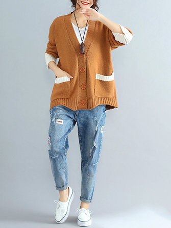 Casual Women Long Sleeve Color Block Buttons Sweater Cardigan