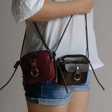 Women Genuine Leather Short Style Soft Coin Crossbody Bag