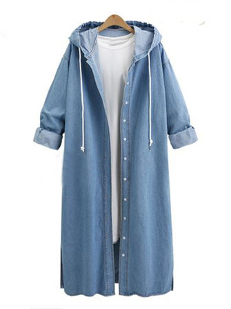 L-5XL Women Hooded Denim Coat