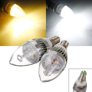E14 9W White/Warm White 3 LED Chandelier Candle Light Bulb 85-265V