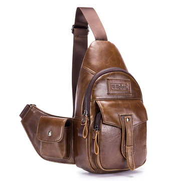 Ekphero Brand Men Leather Multi-pockets Sling Bag Chest Pack with Side Object Holder