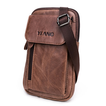 Men Genuine Leather Multifunction Crossbody Bag Belt Pouch with Shoulder Strap & Belt Loop