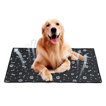 Fiber Pet Dog Cat Soft Summer Cooling Mat Bed Chilly Pad Cushion Black S/M/L/XL