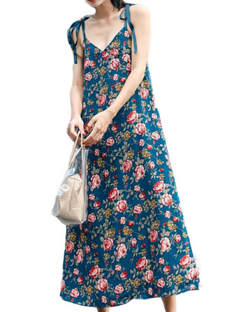 Casual Women Loose Floral Print V-Neck Strap Dress