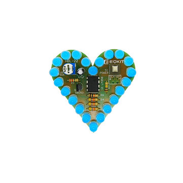 3Pcs Heart Shaped Blue Light Kit DIY Breathing Light Parts DC4-6V Speed Adjustable