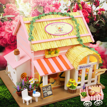 Hoomeda 1/24 DIY Wooden Wonderland Royal Florist With LED+Furniture Dollhouse