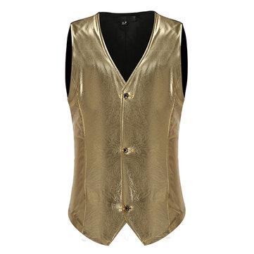 Mens Nightclub กางเกงขาสั้นสีทึบแบบเดี่ยวสีเดียว บาง V Neck Waistcoat
