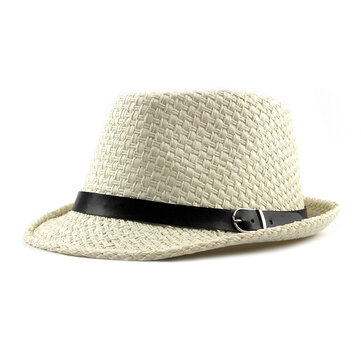 Men Women Handmade Woven Panama Style Fedora Straw Sun Hat with Leather Belt
