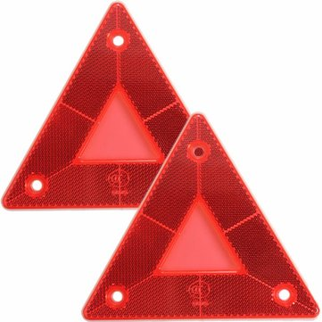 2pcs Triangular Side Red Reflectors For Car Truck Van Trailers Caravans Lorry Bus