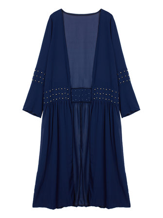Casual Navy Rivet Patchwork Chiffon Long Cardigan For Women