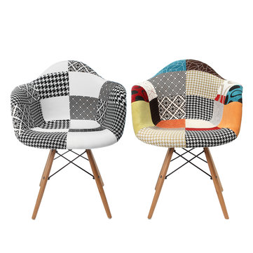 Patchwork Armchair Dining Room Lounge Fabric Vintage Eiffel Style Chair Multicolor Decorations