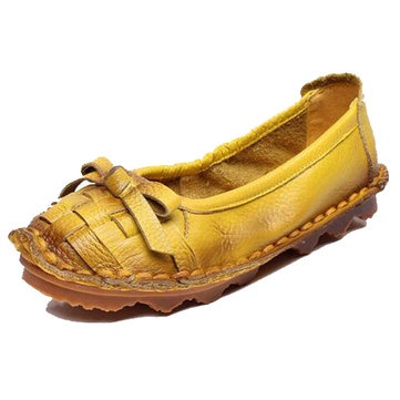 SOCOFY Genuine Leather Butterfly Knot Weave Original Comfortable Retro Flat Shoes