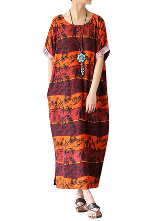 Casual O-Neck Half Sleeve Random Printed Women Robe Dresses