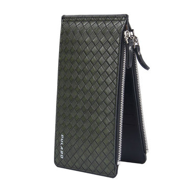 Men Long Zipper Cowhide Wallet Big Capacity Card Holder