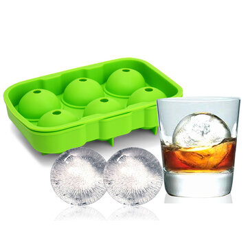 KCASA KC-IT02 6 Holes Large Ball Shape Silicone Ice Cube Sphere Whiskey Cocktail Ice Mold Tray