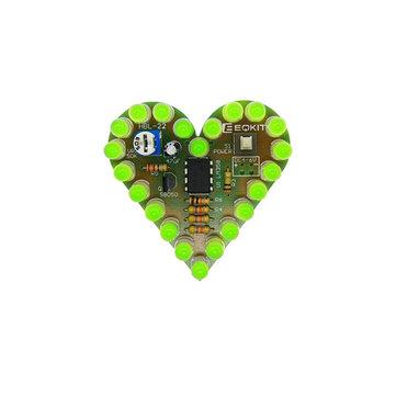 3Pcs Heart Shaped Green Light Kit DIY Breathing Light Parts DC4-6V Speed Adjustable