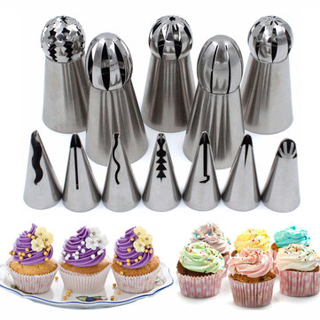 Stainless Steel 12Pcs Set Icing Piping Nozzles Cake Decorating Tips Baking Tools Kit Accessories