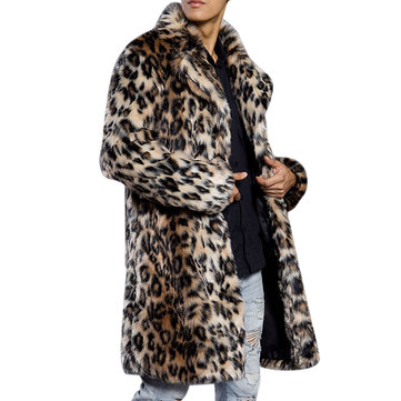 Mens Winter Warm Leopard Faux Fur Coat Suit Collar Mid-long