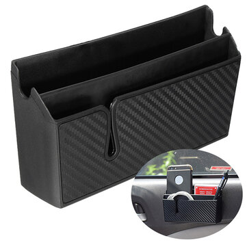 PVC Carbon Fiber Style Car Air Vent Arm Rest Storage Box Organizer Holder for Phone Card