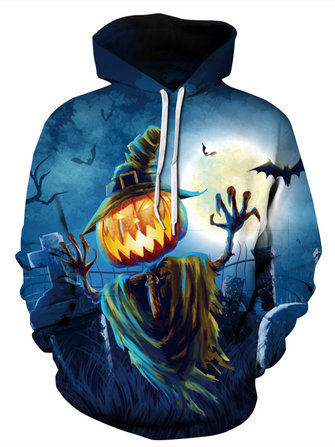 Halloween Pumpkin Pattern Hooded Long Sleeve Women Hoodie Sweatshirts