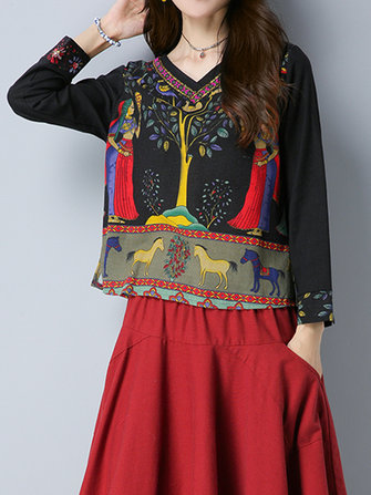 Gracila Women Ethnic Print V-neck Long Sleeve Blouses