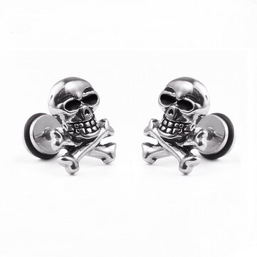1pc Unisexe Retro Acier inoxydable Ear Stud Skull Earring Gift for Men Women