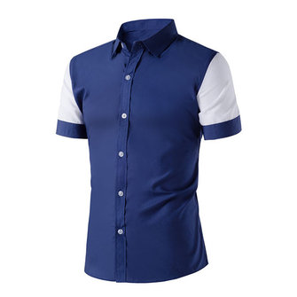 Mens Summer Contrast Color Splicing Short-sleeved Lapel Shirts