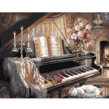 DIY Digital Oil Painting Oil Painting By Numbers Kits Piano Frameless Canvas Home Wall Decor 40x50cm