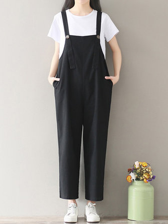 Casual Women Spaghetti Strap Pocket Wide Leg Jumpsuits