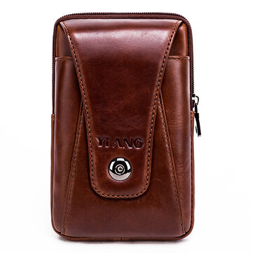 Men Genuine Leather Vintage Waist Bag