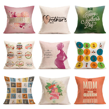 Honana WX-P5 43x43cm Mother's Day Gift Flower Linen Pillow Case Cushion Cover Home Car Decor