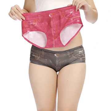 Women 3D Jean Printing Panties Seamless Comfort Soft Briefs Underwear