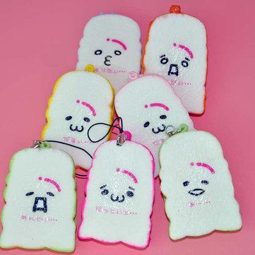 6cm Yaratıcı Simülasyon Renkli kawaii Toast Ekmeği PU Squishy Oyuncak Cep Telefonu Zincir çanta süsleri