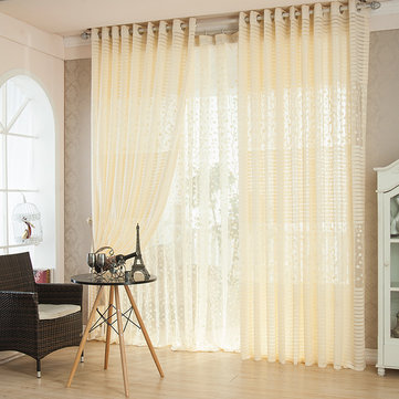 2 Panel Breathable Jacquard Voile Sheer Curtains Window Screening Bedroom Living Room Window Decor