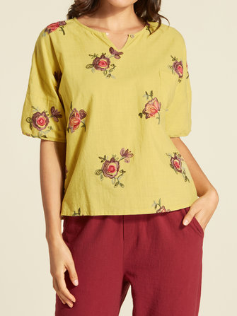 Cotton Embroidery Pocket V-neck Blouse