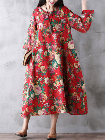 Gracila Floral Printed Loose Pocket Long Sleeve Women Maxi Dresses