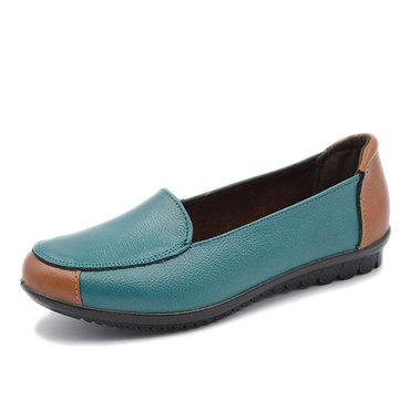 Round Toe Casual Women Leather Low Top Slip On Flat Loafers
