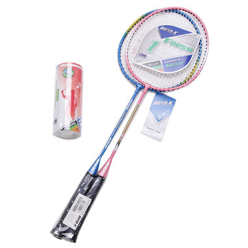 SUPER-K Ferroalloy Badminton Racket Beginner Training Rackets With Shuttlecock