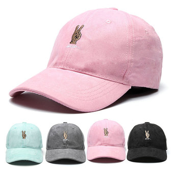 Women Boys Finger Victory Embroidery Baseball Cap Strapback Trucker Hats