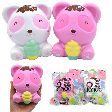 Kiibru Panda Squishy Bear Ice Cream 11.5cm Licensed Slow Rising With Packaging Collection Gift Soft Toy