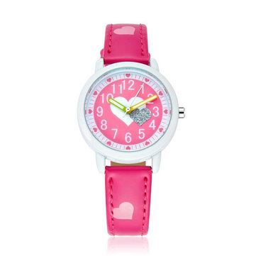 Cute Heart Pattern Kids Cartoon PU Leather Strap Student Quartz Wrist Watch