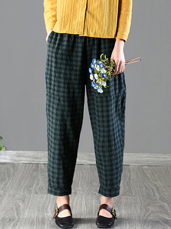 Women High Waist Plaid Long Loose Carrot Pants