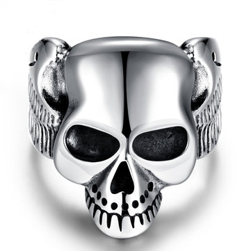 Silver Punk Stainless Steel Men Ring Vintage Skull Head Men Jewelry