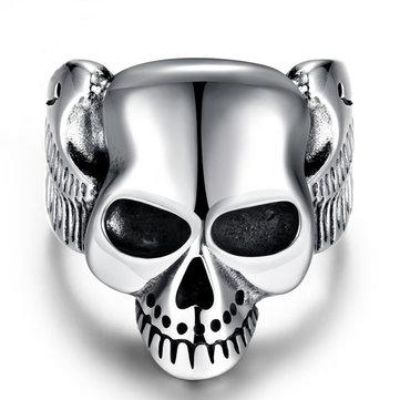 Silver Punk Stainless Steel Men Ring Vintage Skull Head Men Jewelry