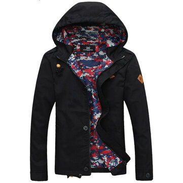 Men Spring Fall Cotton Blend Zipper Hoodie Coat Long Sleeve Jacket